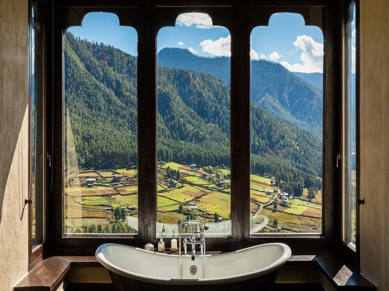 View from bathroom in Gangtey Lodge Bhutan