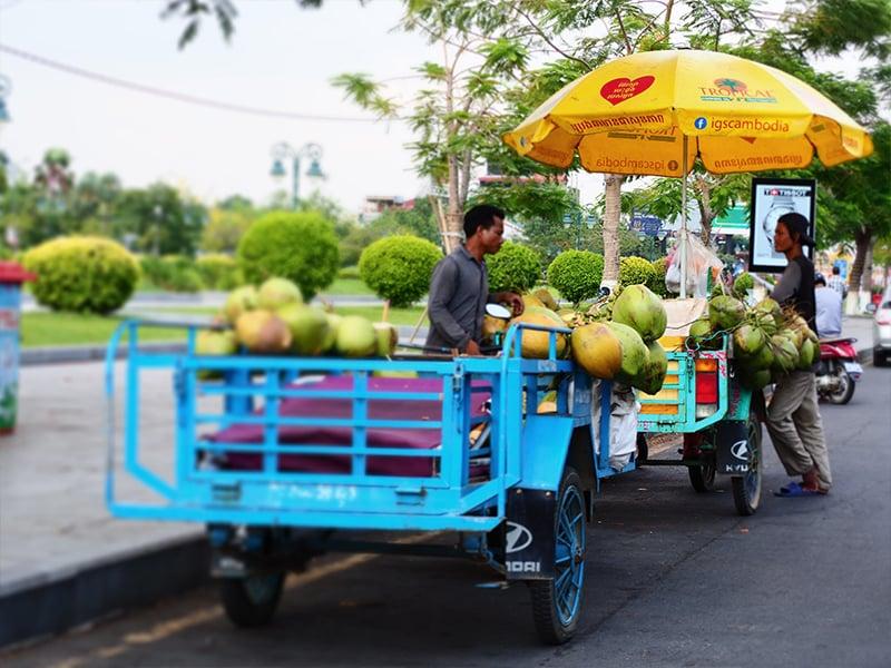 Market in Phnom Penh selling fresh fruit