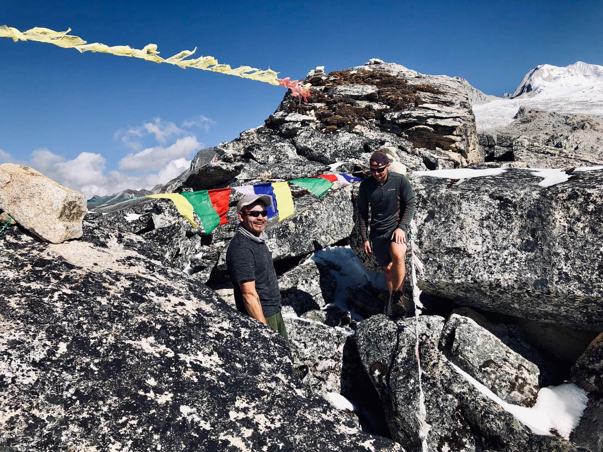 Putting up Prayer Flags in Bhutan