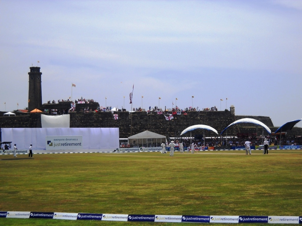 Galle cricket stadium with the fort in the background