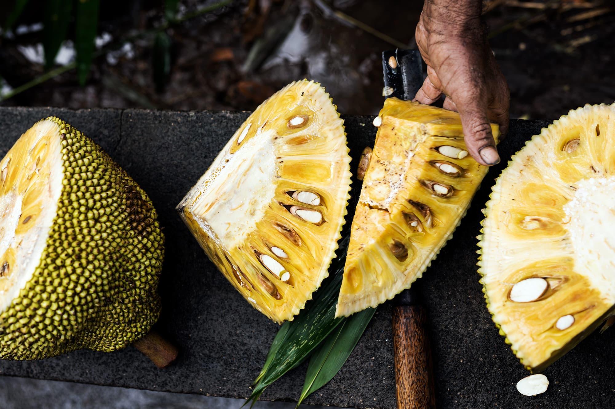 Jackfruits cut open in Sri Lanka