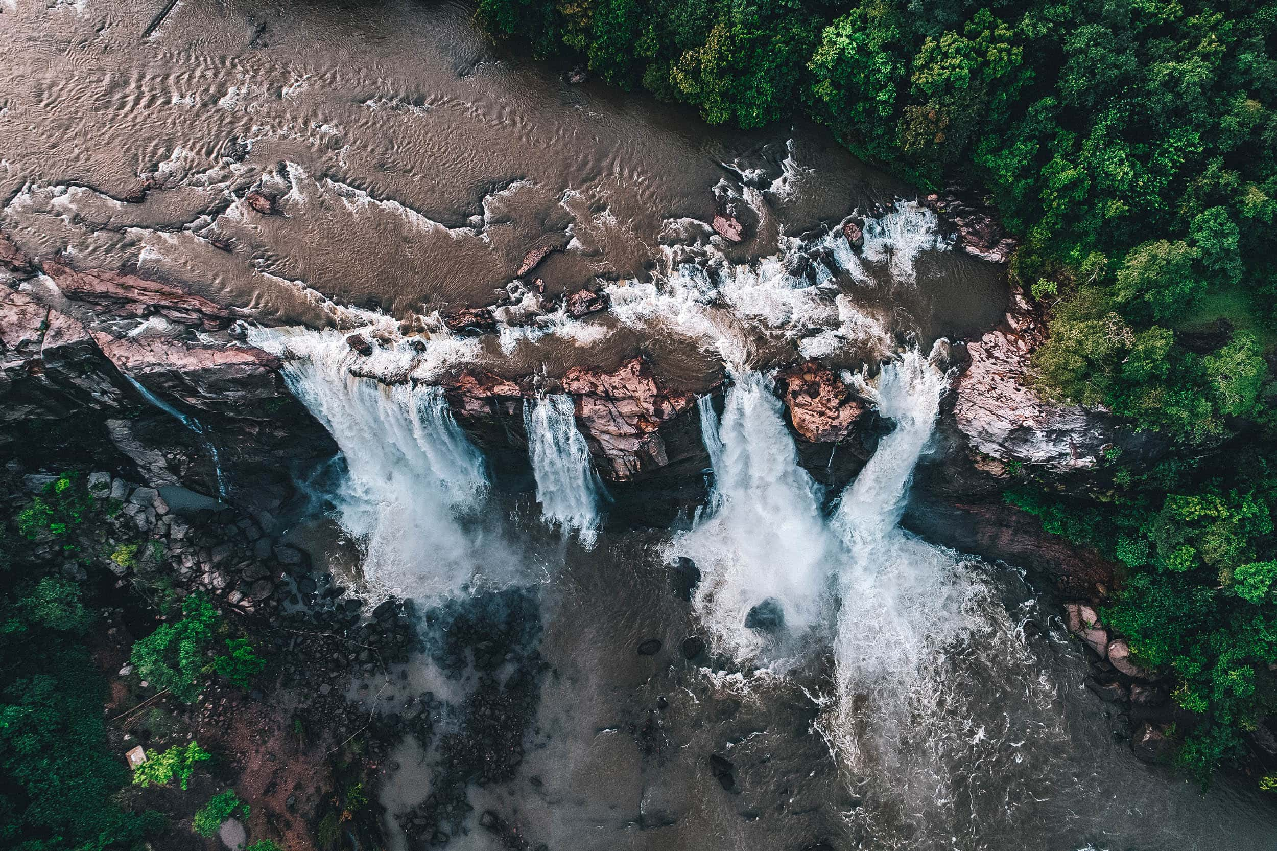 Aerial view of Athirappilly Falls in Southern India