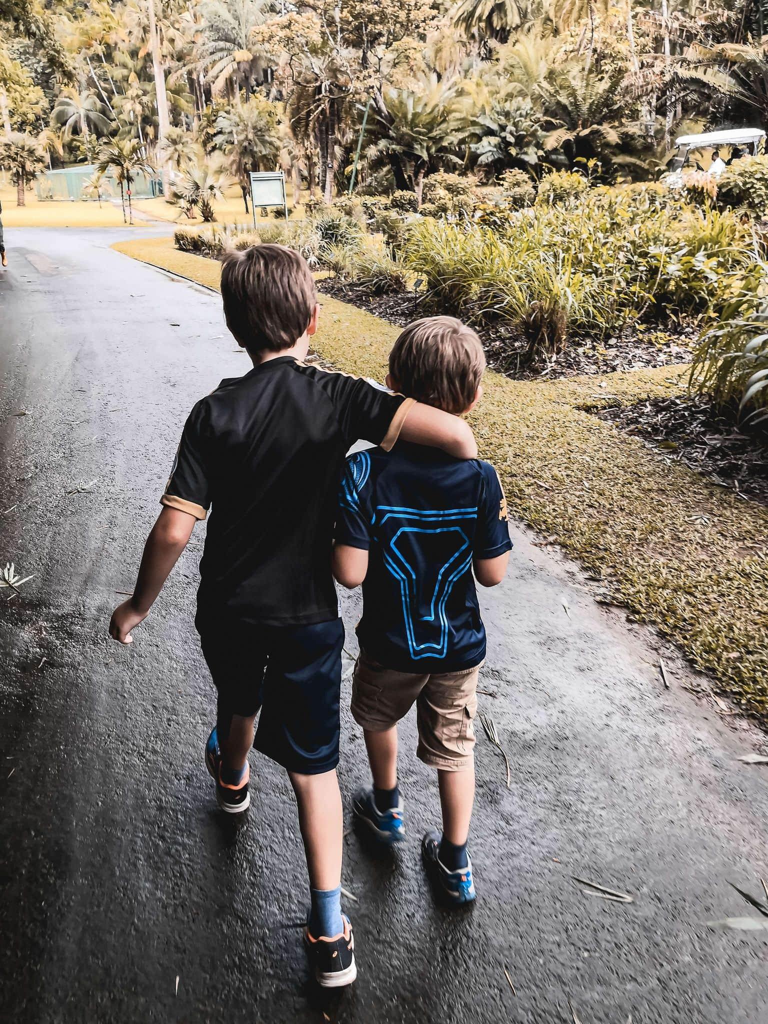 Children having fun hiking in Asia