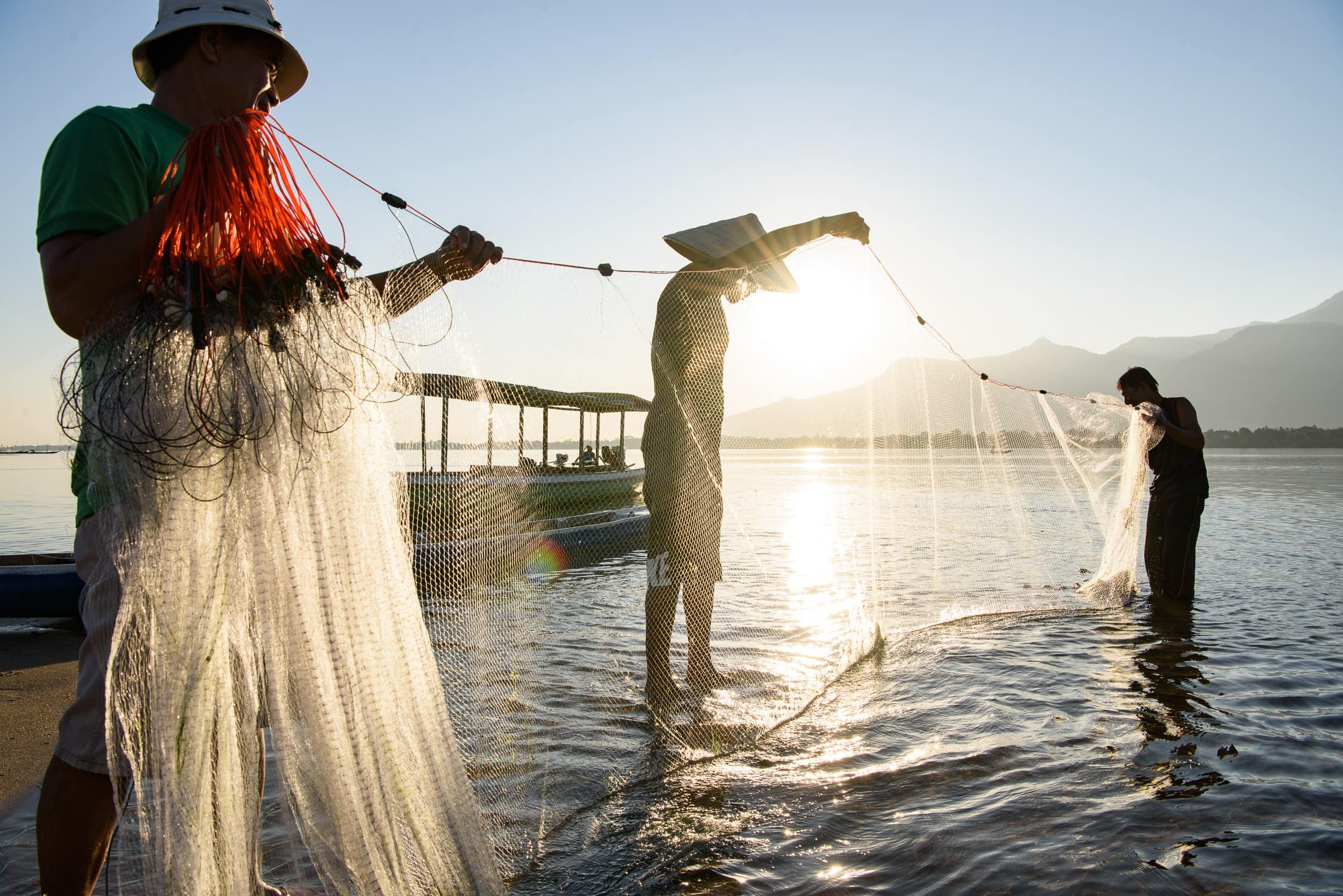 Fishermen on Don Daeng, Laos at sunrise