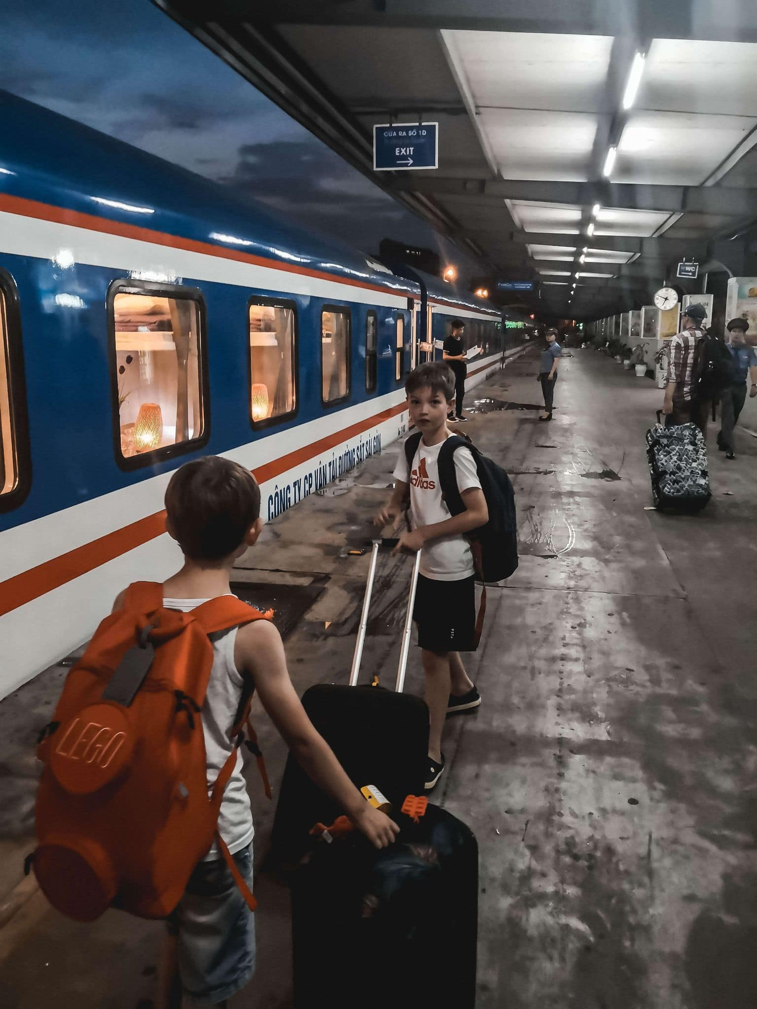Getting ready to sleep on an overnight train journey in Vietnam