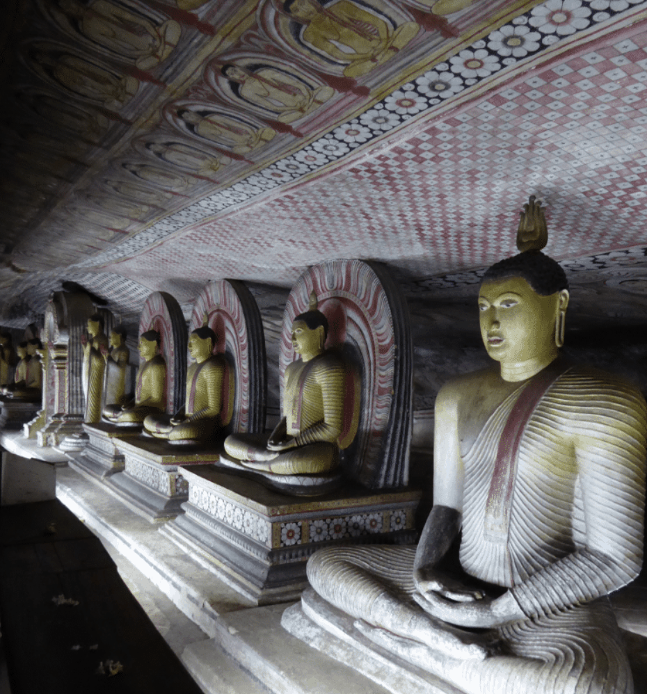 One of Dambulla's Buddhist cave temples, Sri Lanka