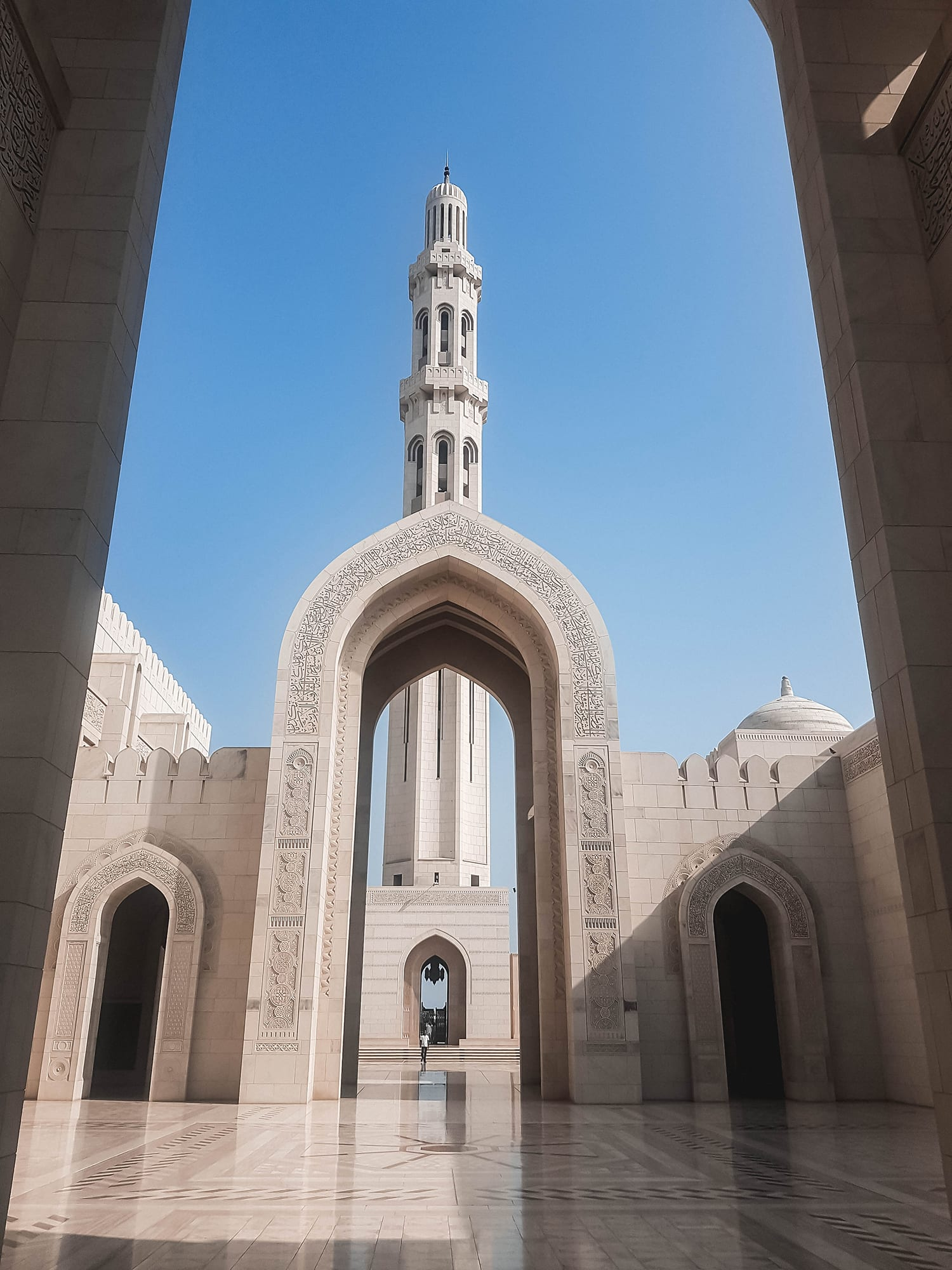 Sultan Qaboos Grand Mosque in Muscat is an example of Islamic architecture in Oman