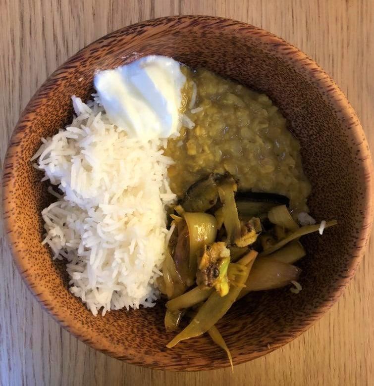 Local food Sri Lankan Coconut Dal with Aubergine Pickle