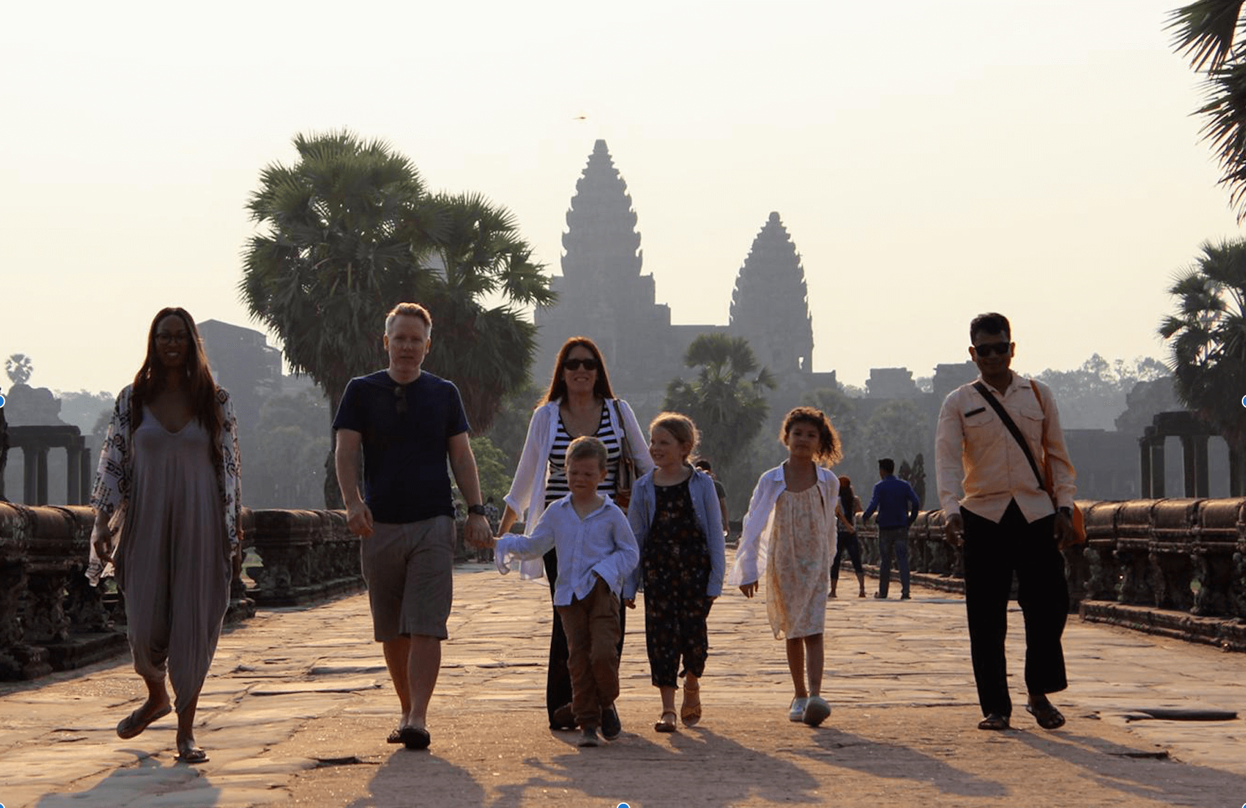 Family with guide at Angkor Wat