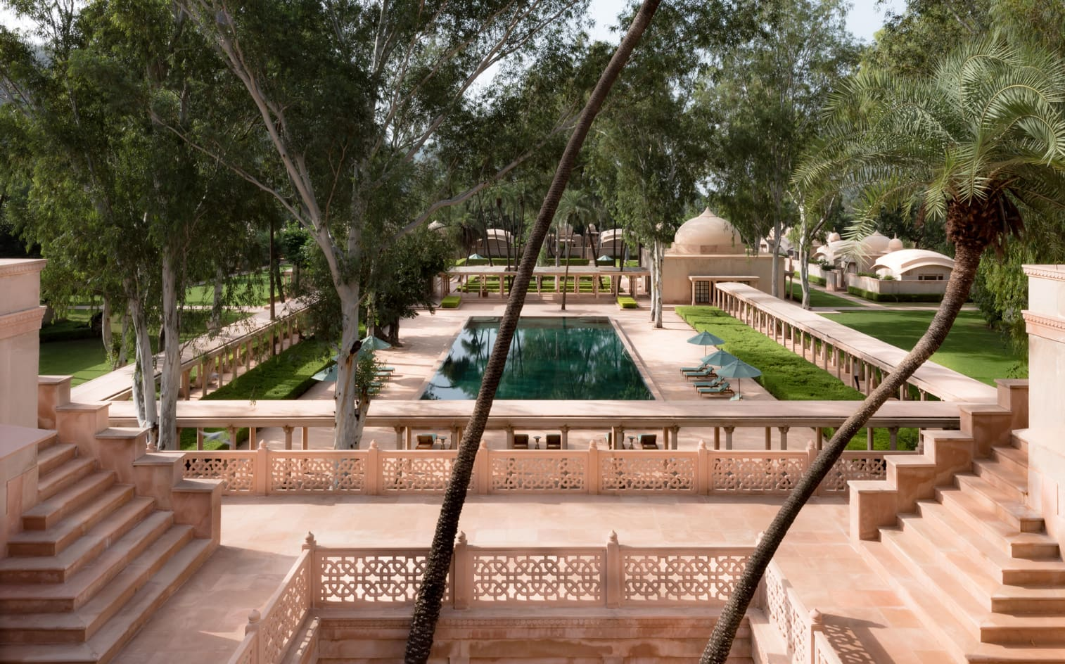 The luxurious Amanbagh hotel in Rajasthan, North India. Perfect to relax in a rural setting