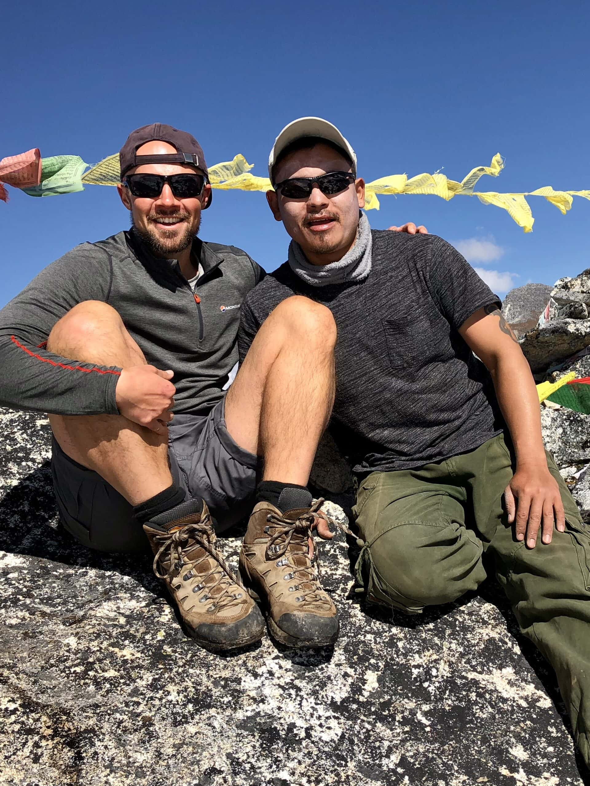 Matt and Jamyang in Bhutan high in the himalayas on the snowman trek