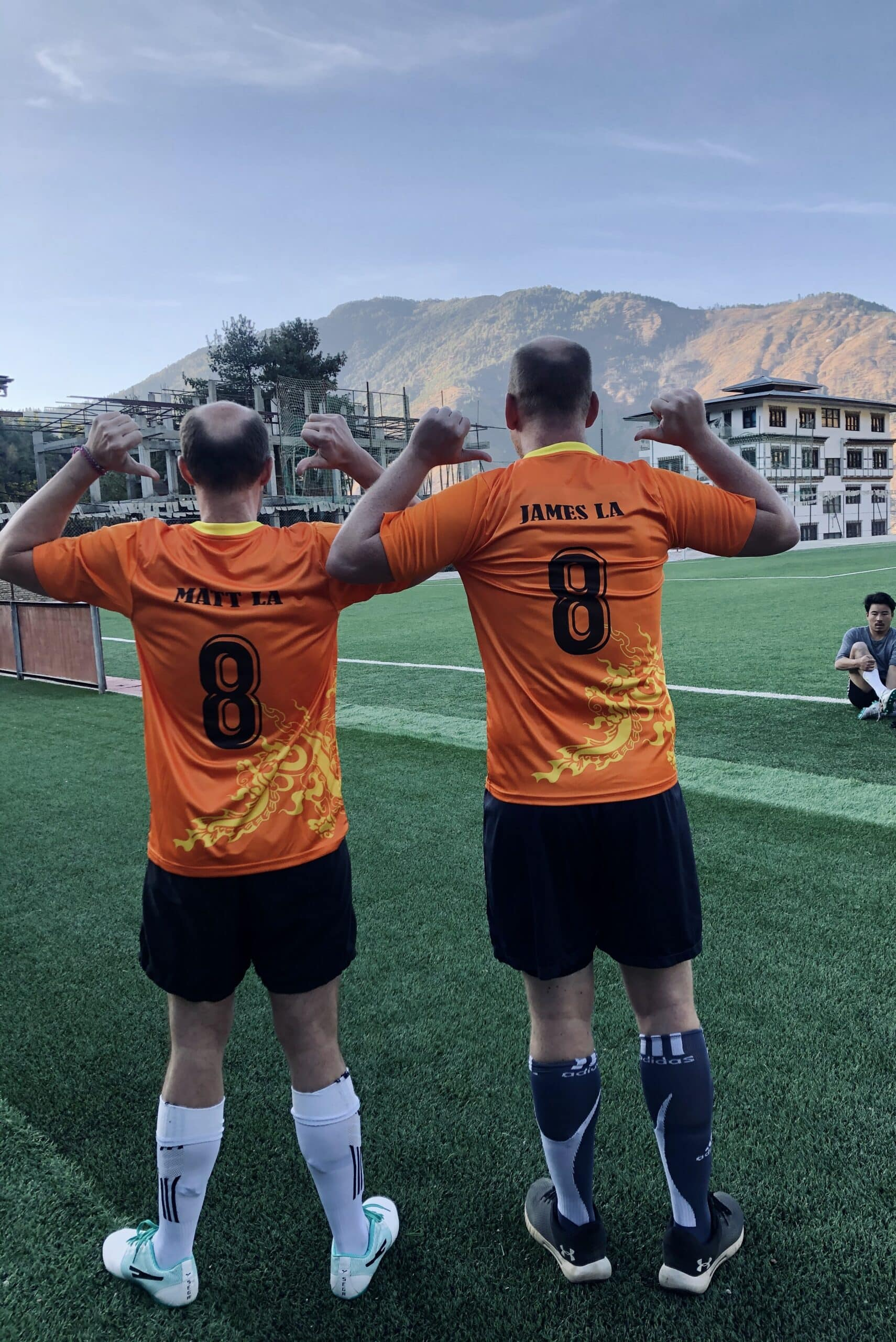 Playing football in Thimphu, the capital city in Bhutan