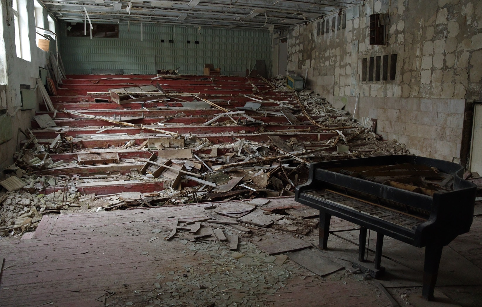 Inside the derelict Pripyat music school in Chernobyl