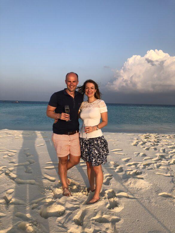 Me and my friend Becky on the Sandbank at Soneva Fushi