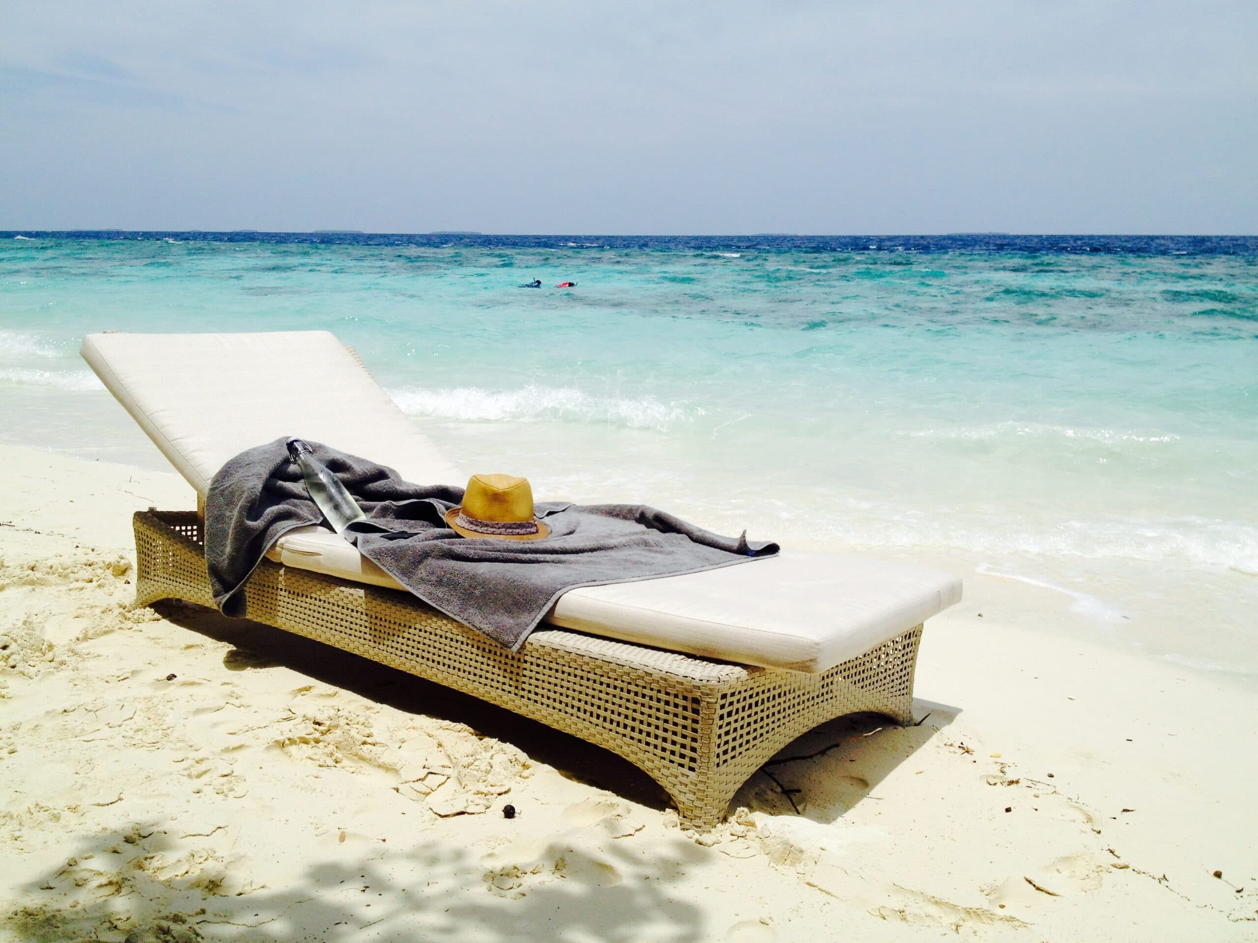 Typical beach set up in the Maldives