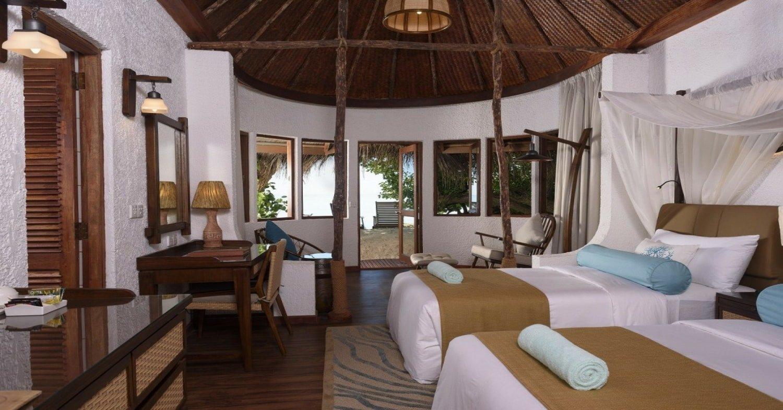 Interior shot of room at Makunudu Island Resort