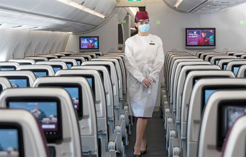 Uniform with Qatar Airways when travelling during the pandemic
