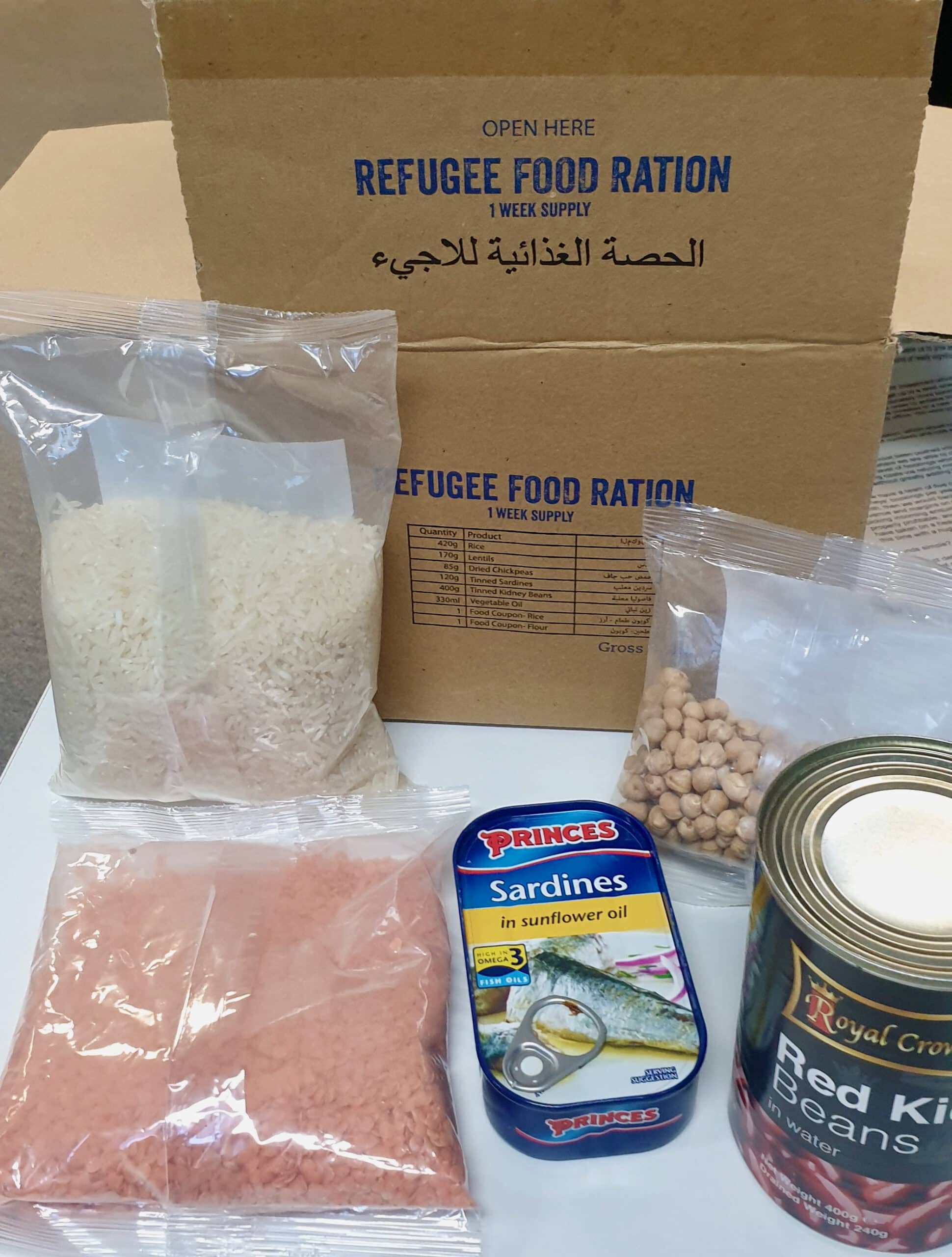 Food ration box provided for the Concern Worldwide Ration challenge in aid of refugees