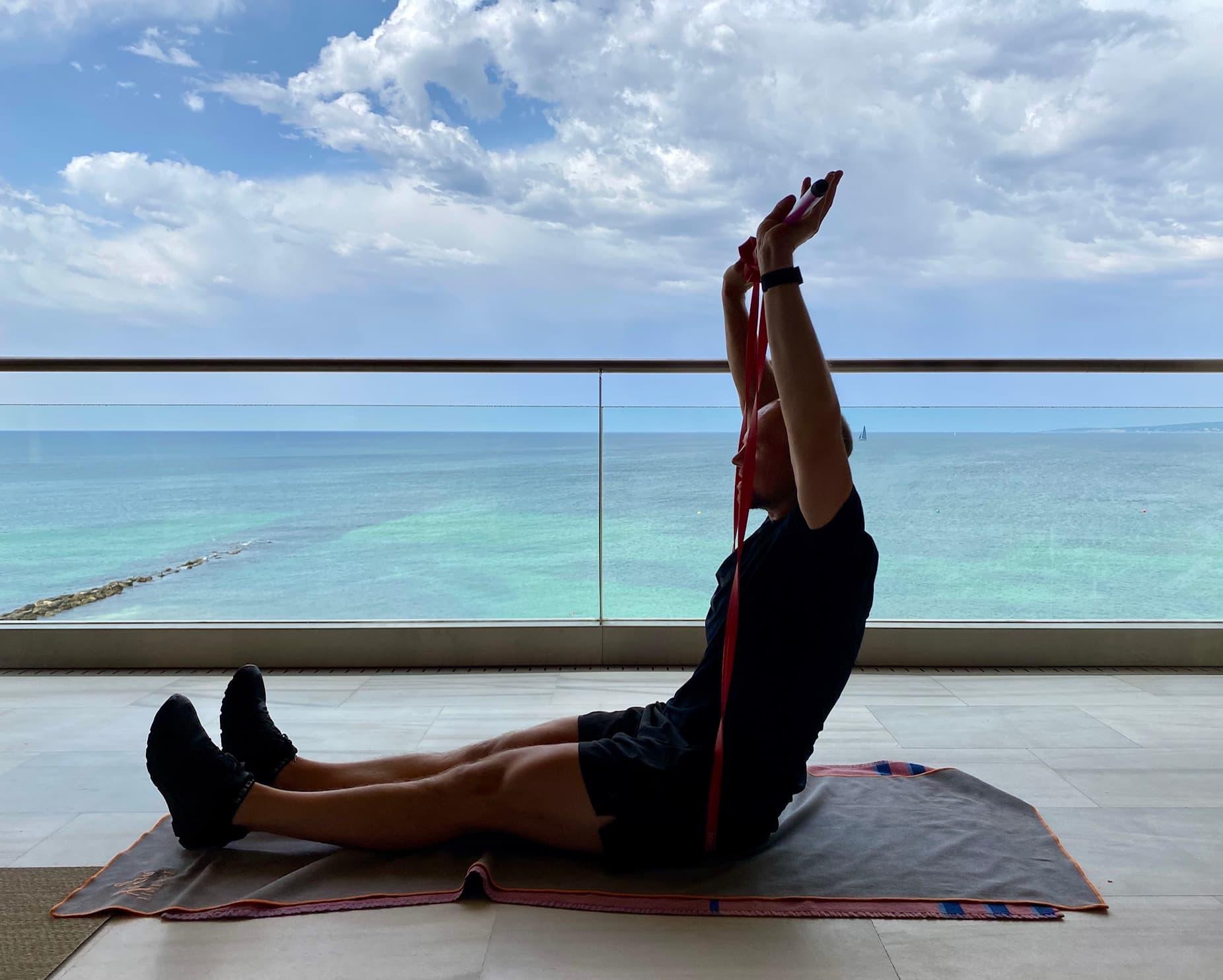 Matt training on the balcony in Spain