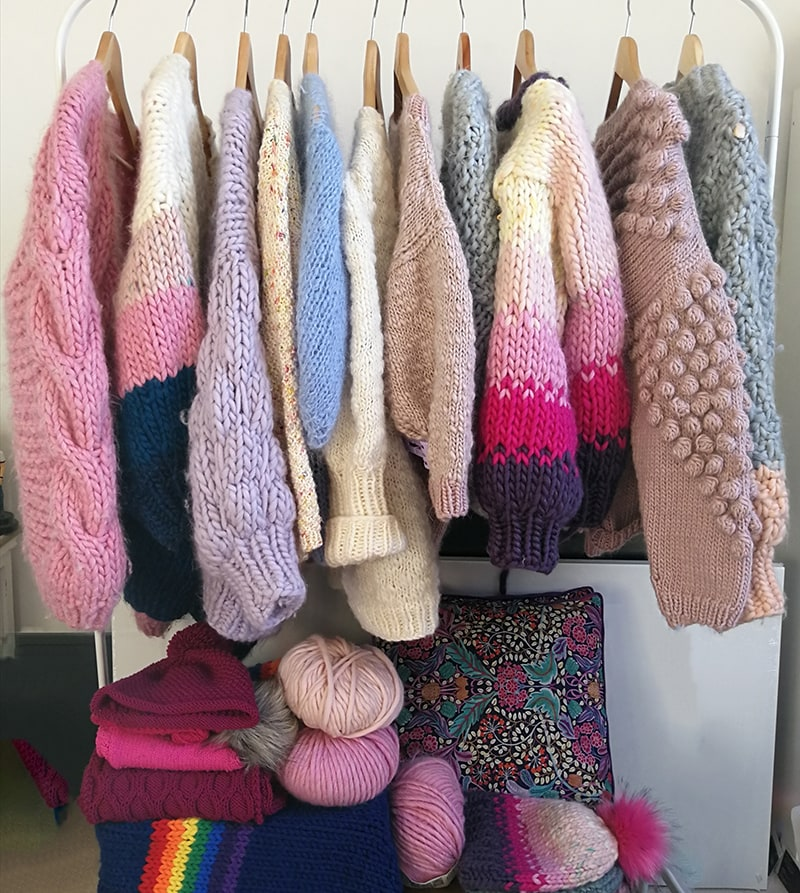 Hand knitted pastel cardigans made by Melissa Clark