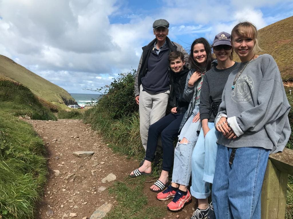 Sam exploring with her family in cornwall