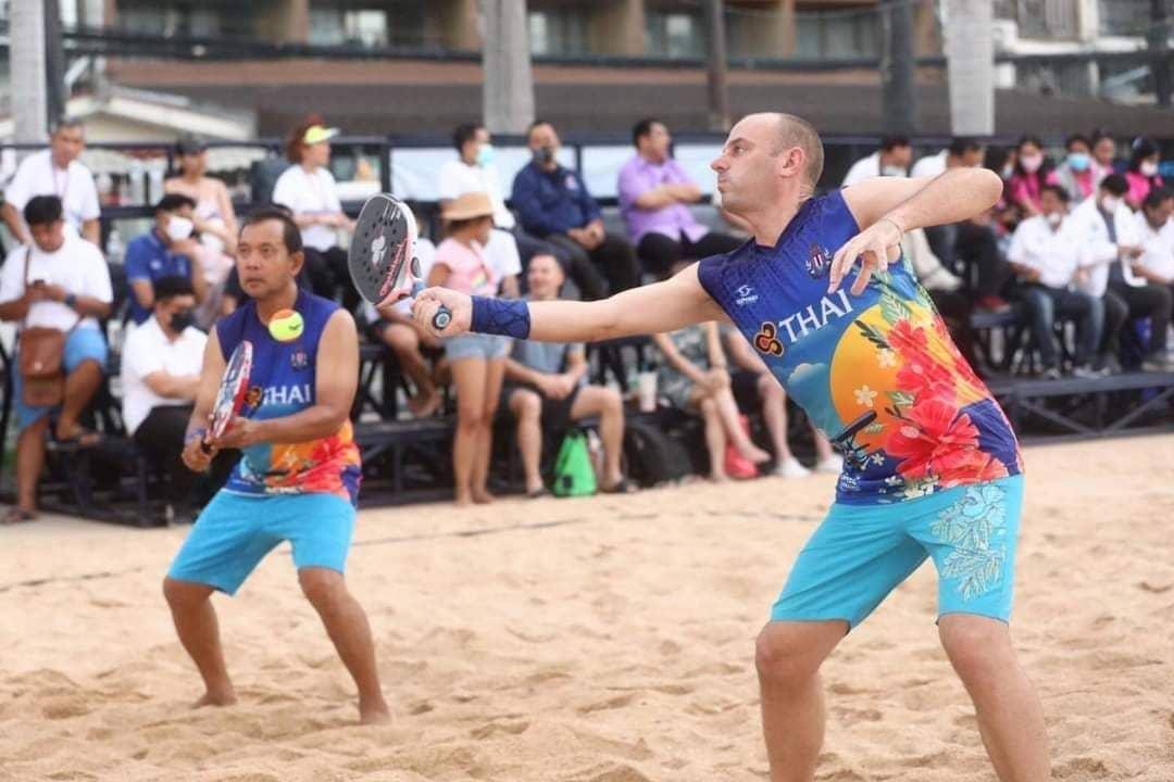 Tom playing Beach Tennis is Thailand
