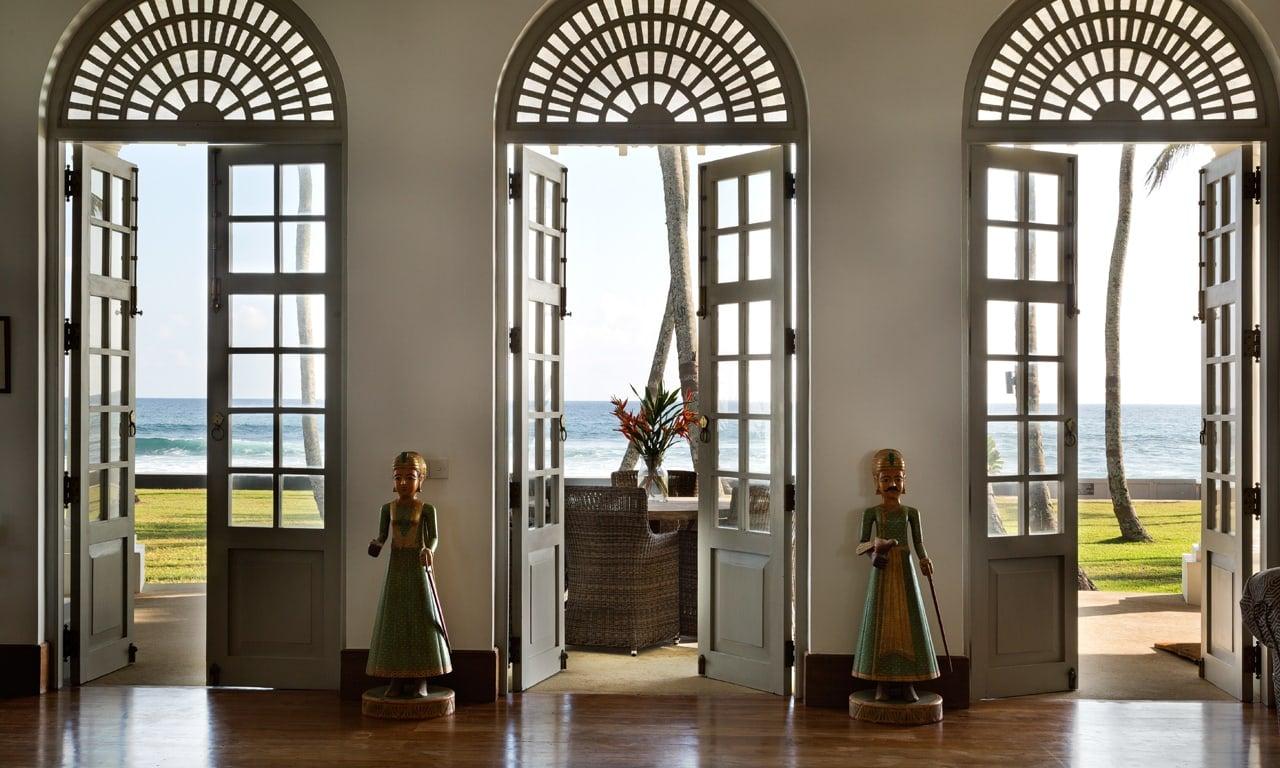 View through windows to the beach in Tanamera Villa, Galle, Sri Lanka