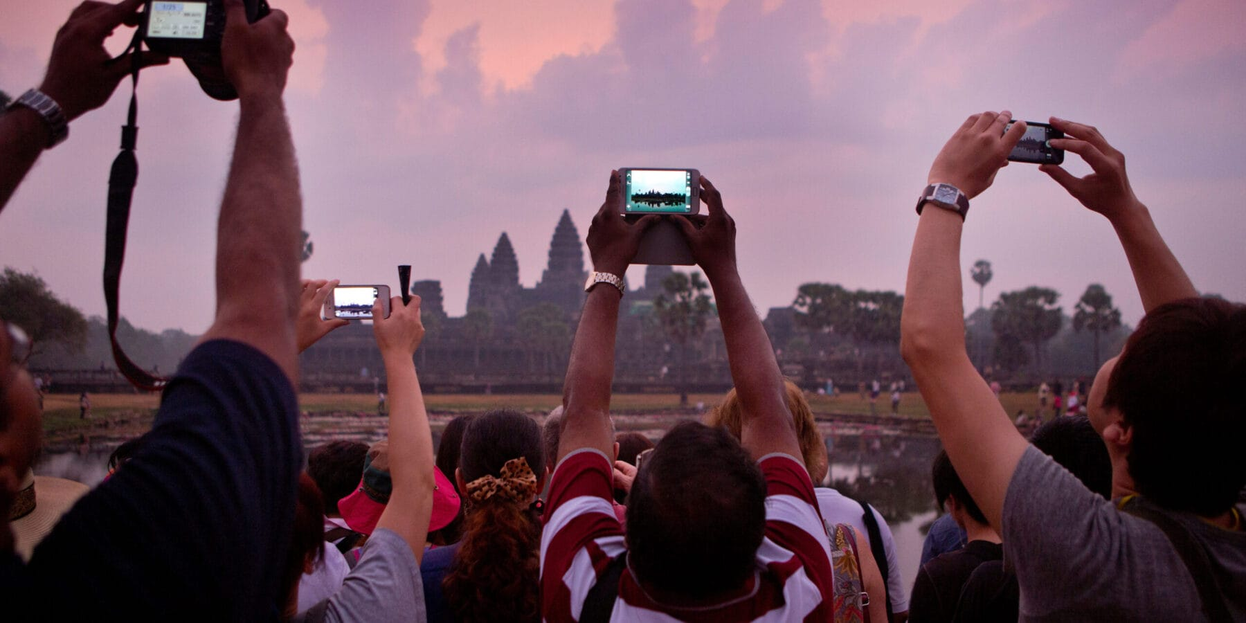 Taking a picture of Angkor Wat Sunrise