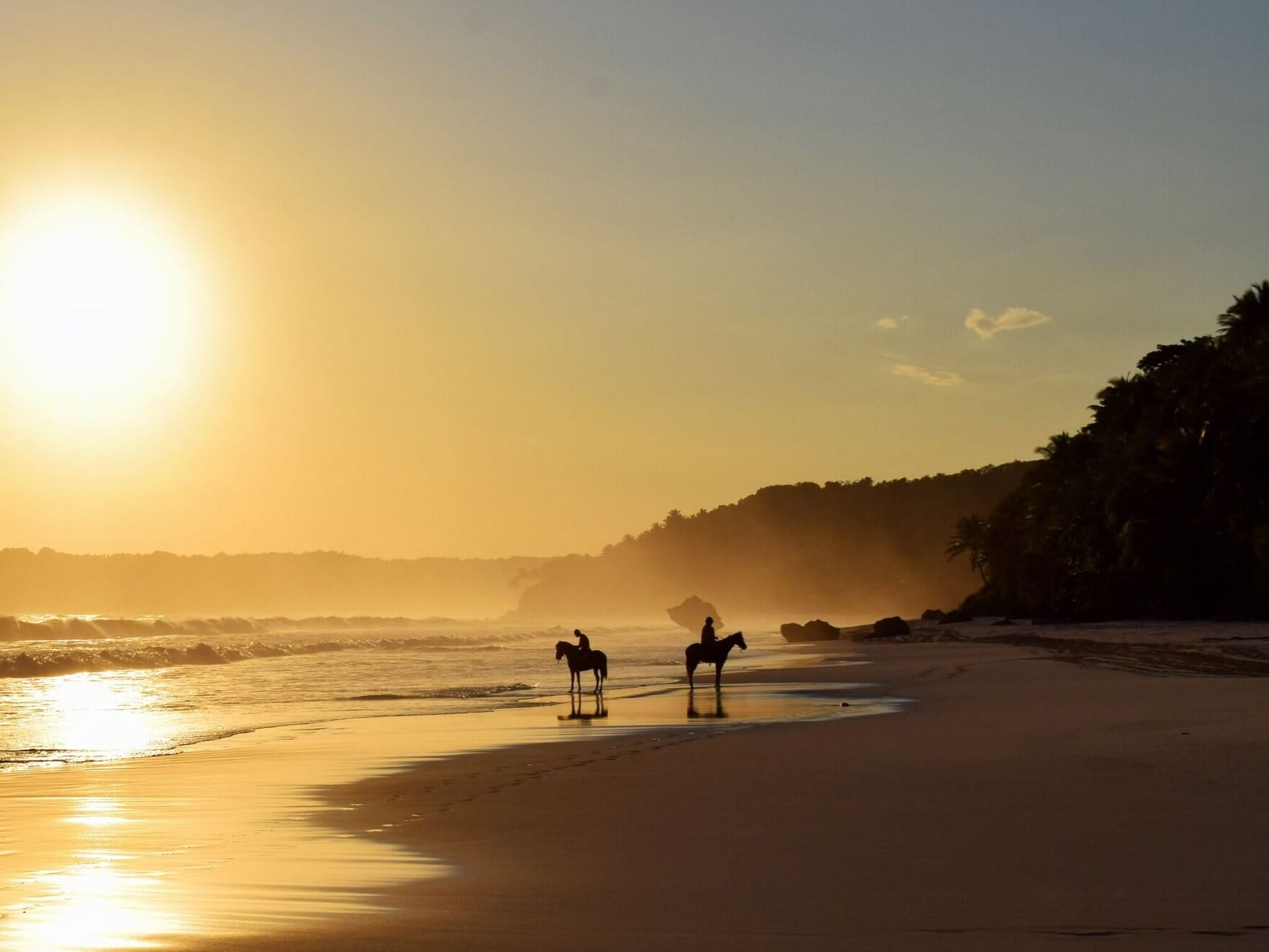 Silhouette of horses on the beach at sunset in Nihi Sumba