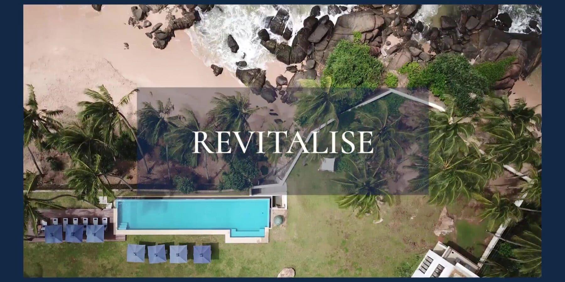Revitalise collection logo laid over Sri Lankan beach scene