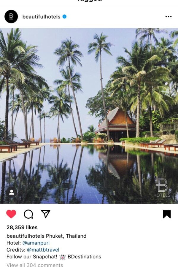 My tiny moment of Instagram fame when Beautiful hotels posted my photo