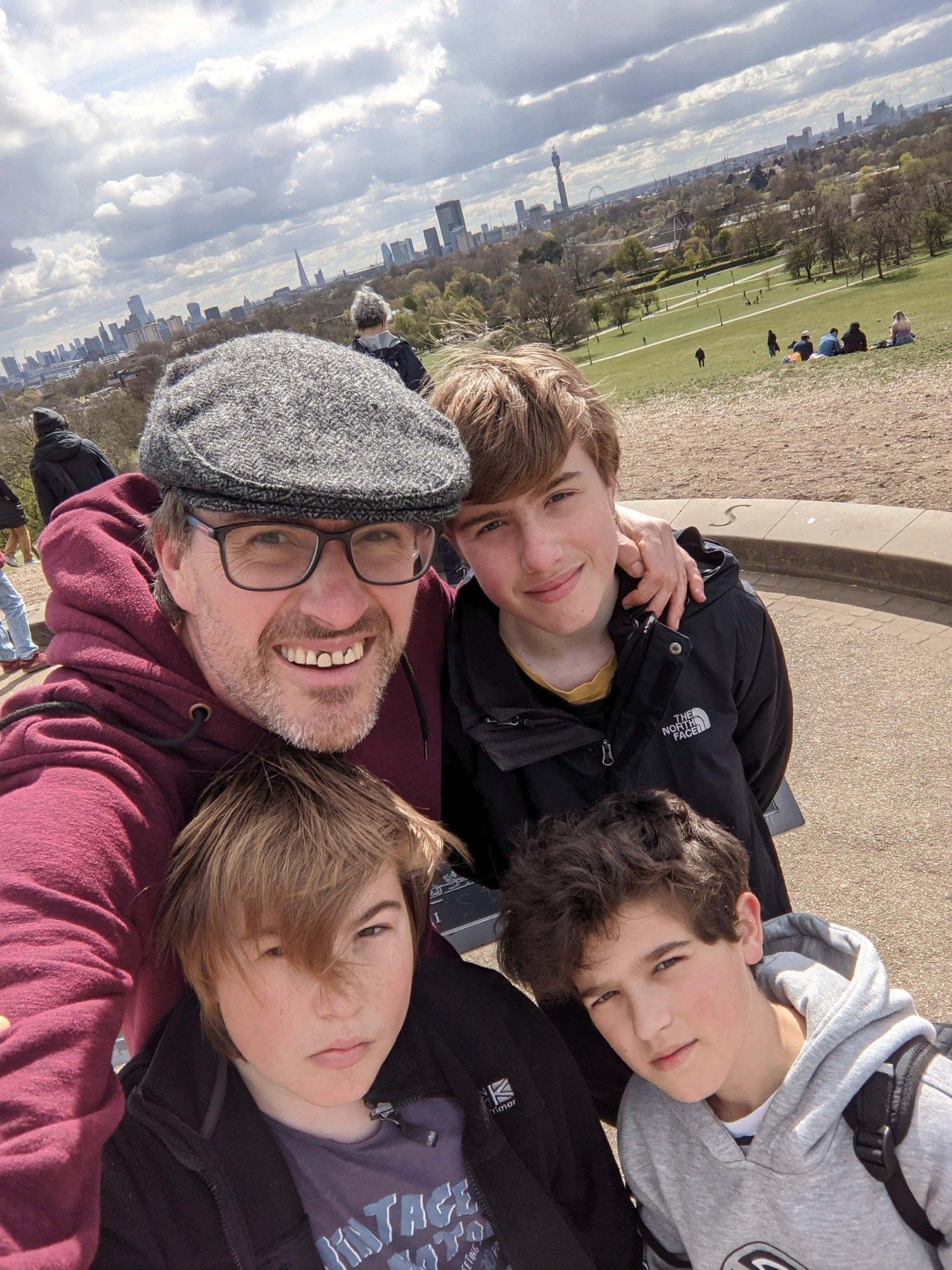 Family selfie on Primrose Hill in London