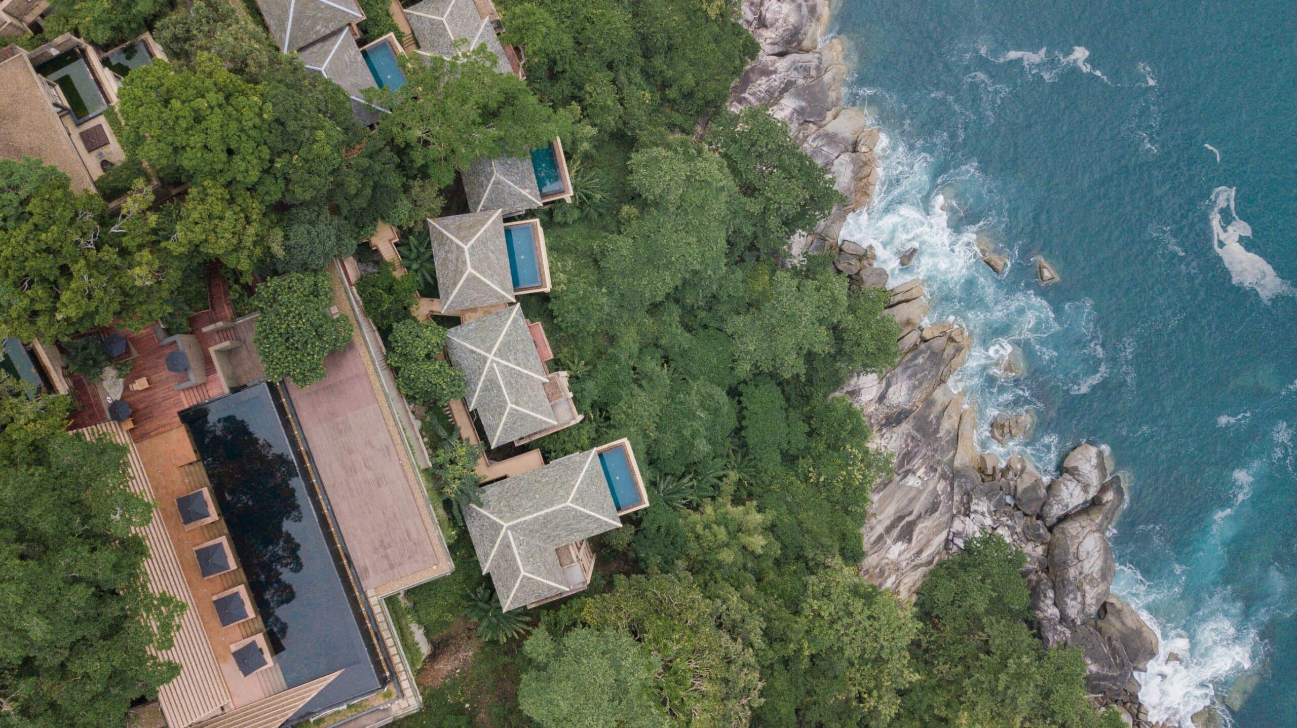 Ariel shot of Paresa Resort in Phuket