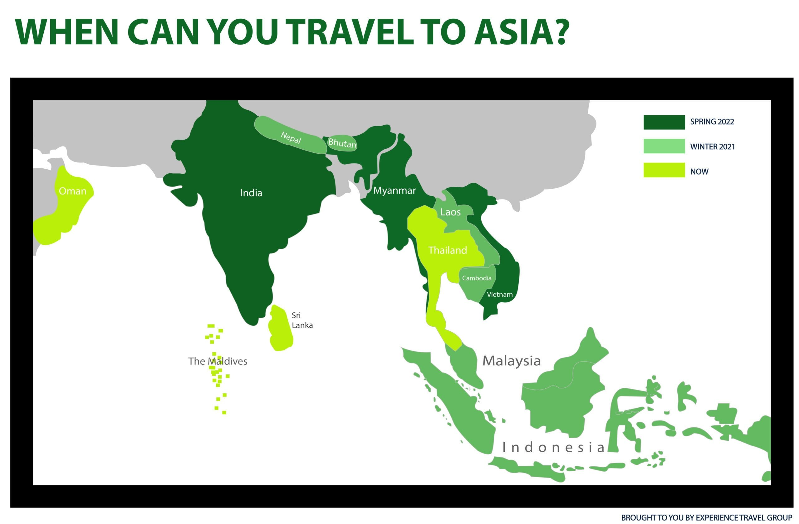 Map showing where you can travel in Asia based on covid 19 parameters