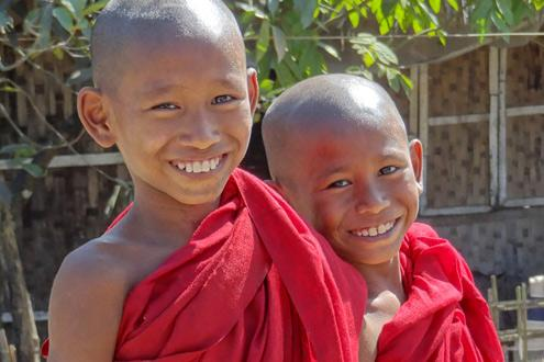 Novice Monks Flying the flag and epitamising hope across Burma