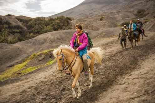 Pony riding around Mount Bromo