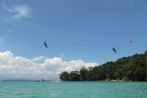 Zipline from island to island