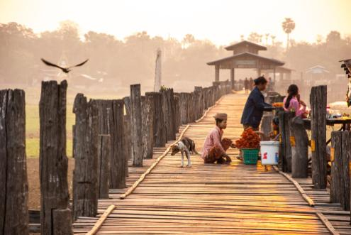 U Bein Bridge at Sunrise or Sunset