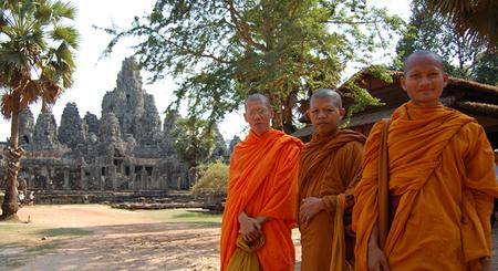 Cambodia - Monks in front of Angkor Wat
