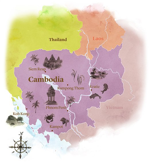 watercolour map of Cambodia
