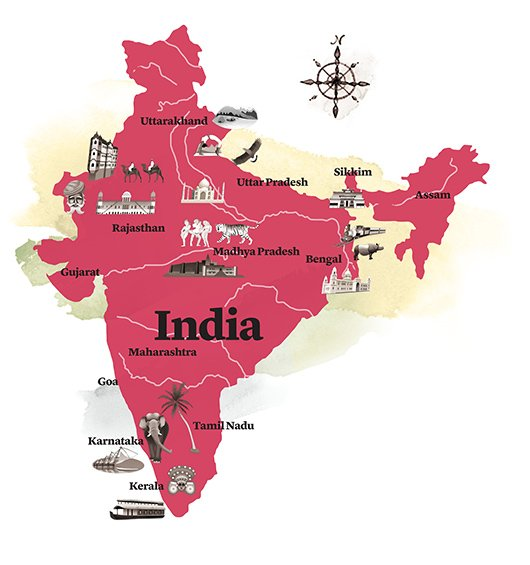 watercolour map of India