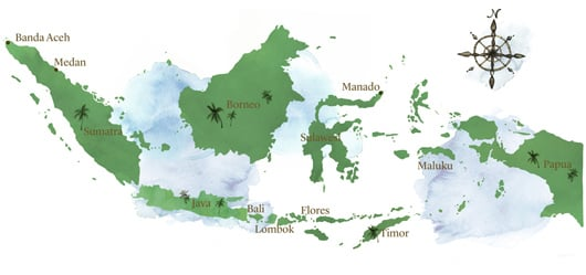 watercolour map of Indonesia