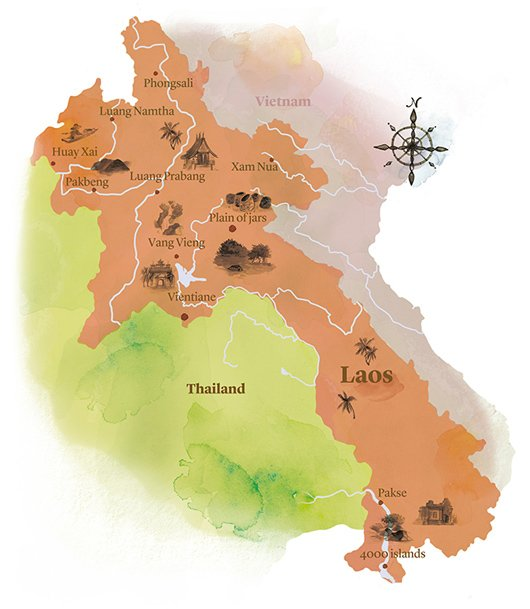 watercolour map of Laos