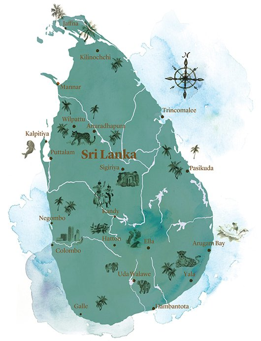 watercolour map of Sri Lanka